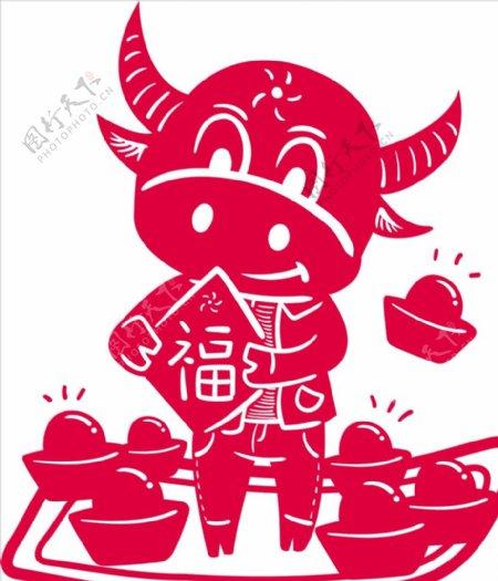 2021年牛剪纸春节窗花图案图片