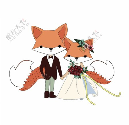 卡通狐狸情侣图片