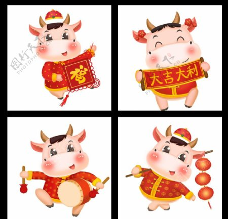牛年春节素材牛年素材卡通图片