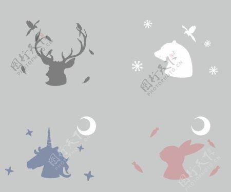 鹿兔子独角兽熊图片