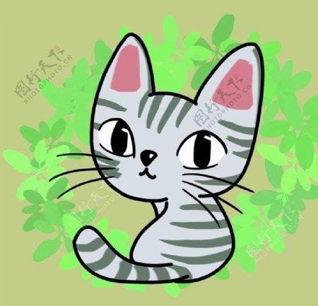 卡通灰色猫咪图片