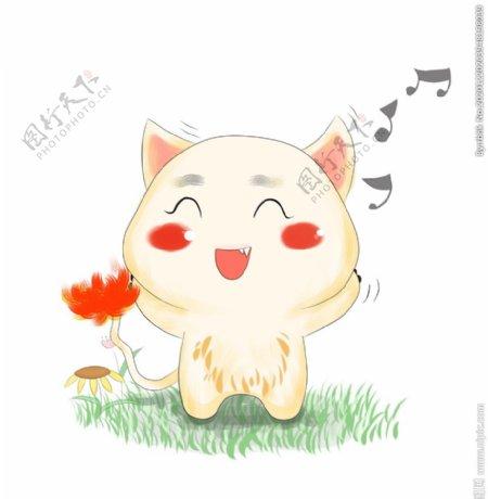 手拿红花高兴地小猫图片