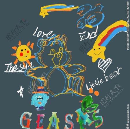星星太阳熊T恤裁片图片