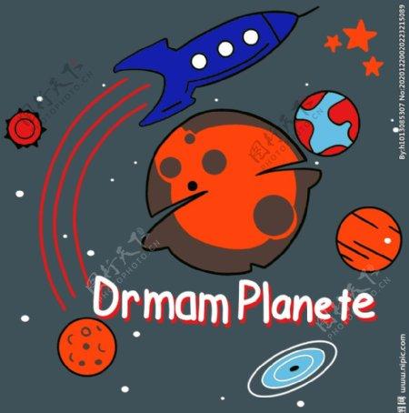 星球火箭太空T恤裁片图片