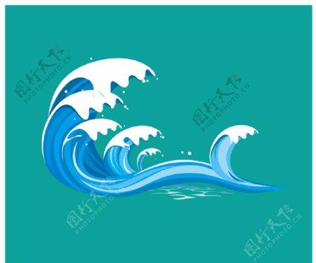 海浪波浪矢量图片