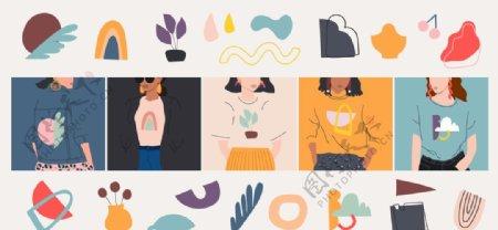 个性女孩女性插画图片