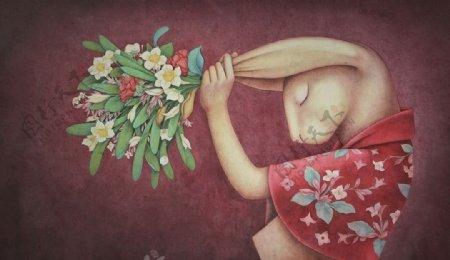 可爱兔子客厅背景墙画图片
