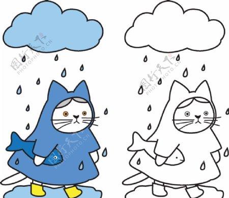 卡通简笔画小猫图片
