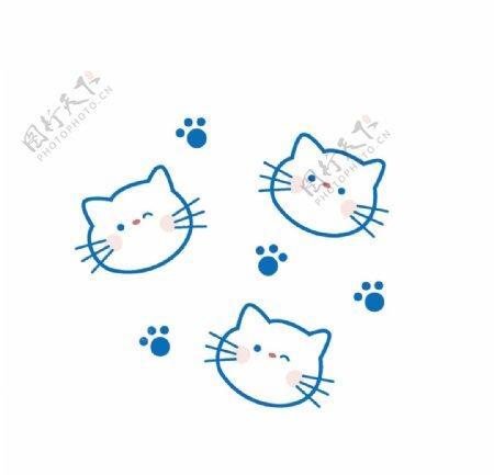 简笔画矢量猫咪头像图片