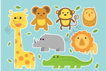 卡通动物插画素材扁平图片