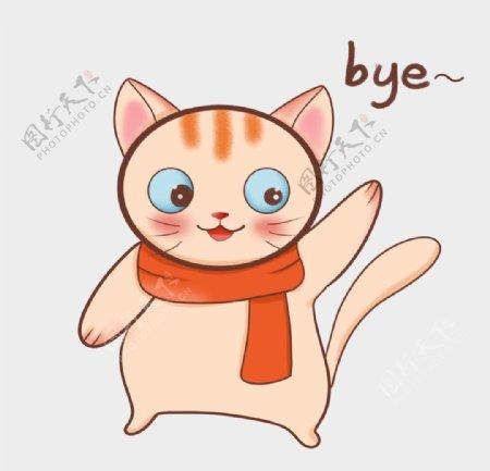 带着围巾挥手说再见的小猫图片
