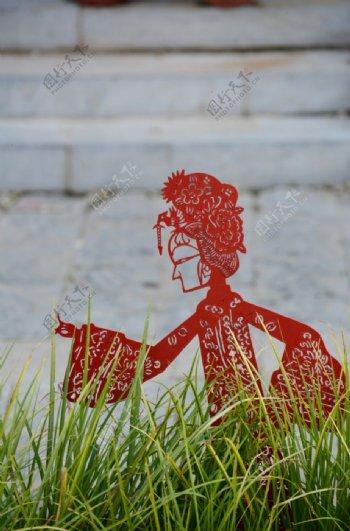 民俗剪纸戏曲人物雕塑图片