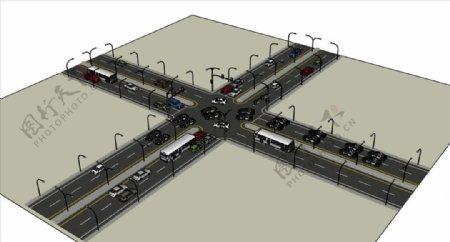 十字路SU模型图片