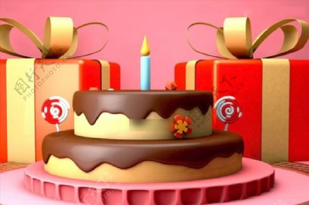C4D模型创意三维粉色蛋糕电商图片