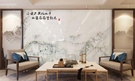 背景墙效果大理石新中式背图片