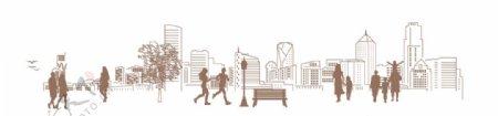 城市生活剪影图片