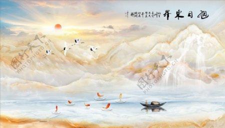 山水画大理石纹小船太阳图片
