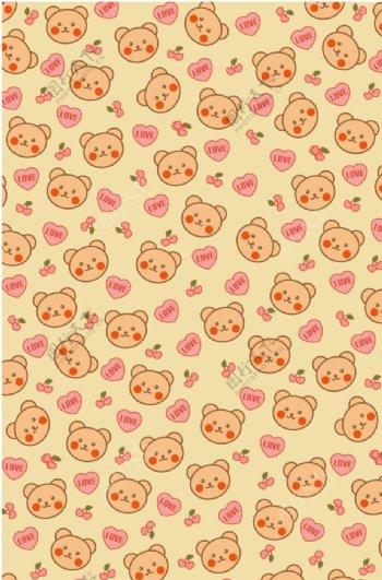 卡通小熊碎花图片