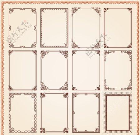 矢量复古花纹边框图片