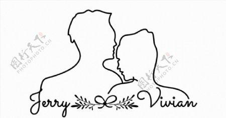 青年男女亲吻婚礼LOGO图片