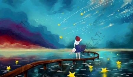 星空女孩图片