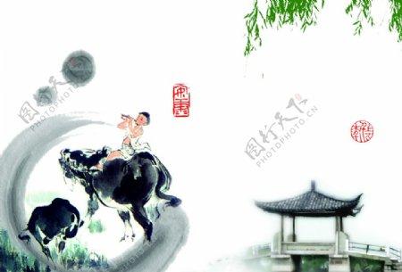 中国风背景水墨清明传统文化图片