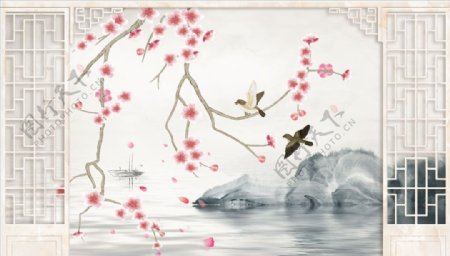 花鸟画梅花飞鸟造型背景墙图片