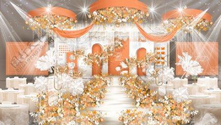 白橙色婚礼主舞台效果图图片