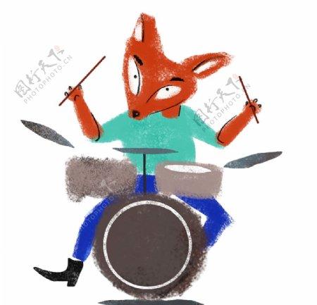 卡通敲架子鼓的狐狸图片
