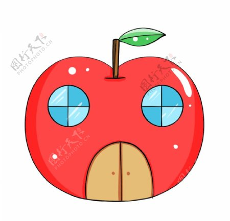 手绘卡通建筑苹果房子图片