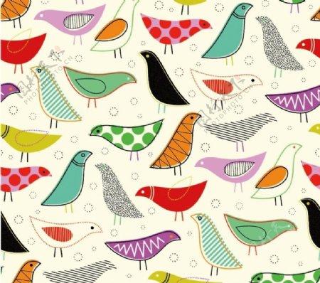 鸟印花图片