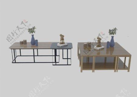中式茶几3d组合模型图片