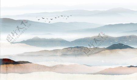 山水画中式背景墙装饰画新图图片