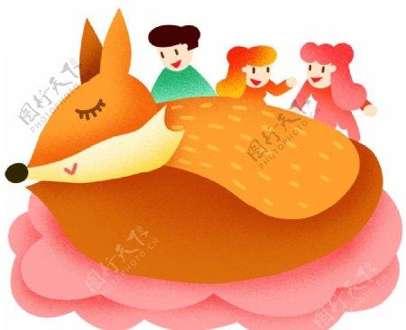 世界睡眠日睡着的小狐狸宣传插画图片