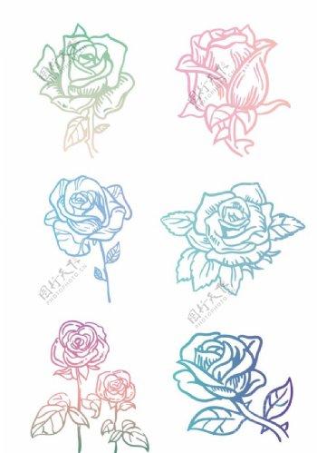 手绘马卡克七彩玫瑰图片