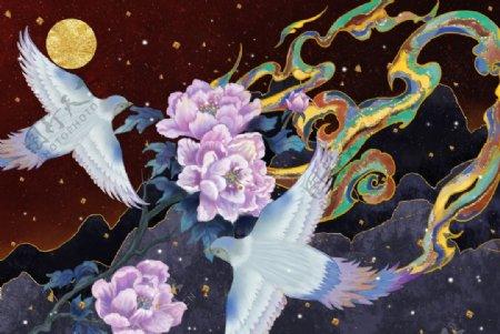 飞鸟古风插画图片