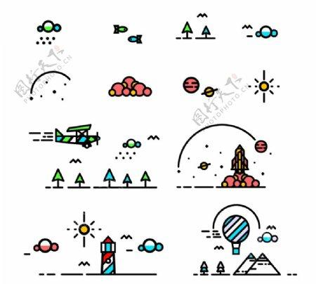 旅行素材插画图片