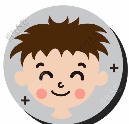 卡通微笑男孩图片
